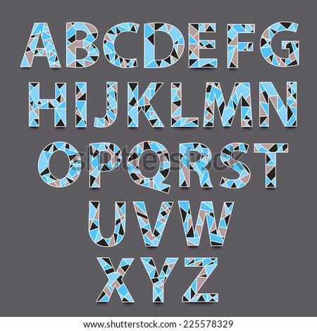 Vector Alphabet Set. Hand drawn triangle alphabet ABS letters - vector.