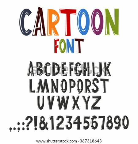 Vector alphabet set in creative cartoon style