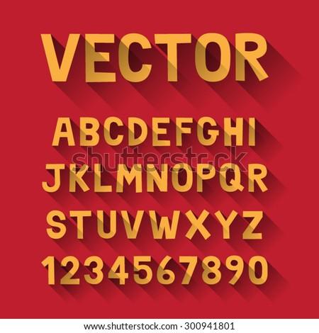 Vector Alphabet set, Long Shadow design