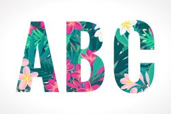 Vector alphabet set. Retro tropical letters A, B, C. Pink and white frangipani (plumeria) flowers with palm leaves