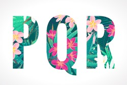 Vector alphabet set. Retro tropical letters P, Q, R. Pink and white frangipani (plumeria) flowers with palm leaves