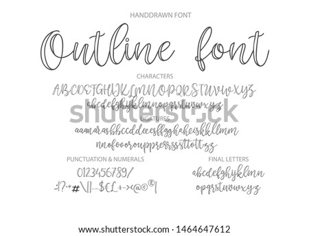 Vector alphabet typeface. Hand drawn modern typeface. Outline letters, elegant calligraphy abc.
