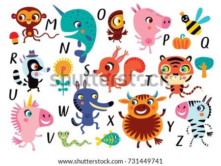 vector alphabet with cute