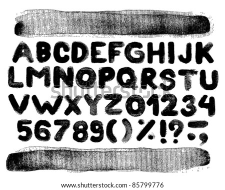 Vector alphabet with numbers and brush strokes