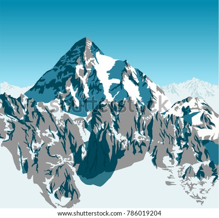 vector alpine landscape with