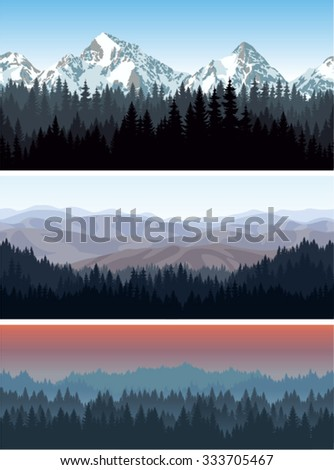 vector alps mountains forest