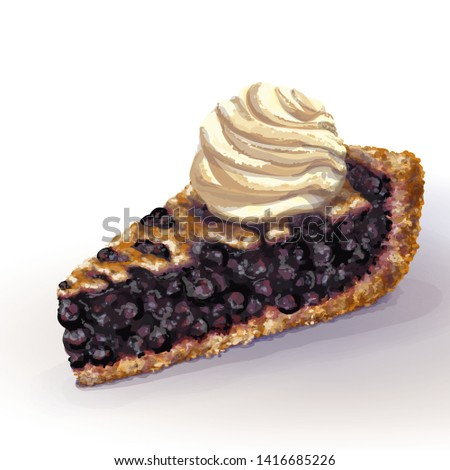 Vector American blueberry pie a la mode with crispy crumbly crust and decorative braid on top. Juicy blaeberry juicy jam, whole berries. Ice cream on top. Drawn by hand, realistic style. Izolated  Imagine de stoc ©