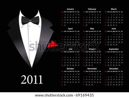 Vector American calendar with elegant suit, starting from Sundays