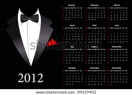 Vector American calendar 2012 with elegant suit, starting from Sundays