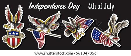 Vector American Eagle Sticker Set