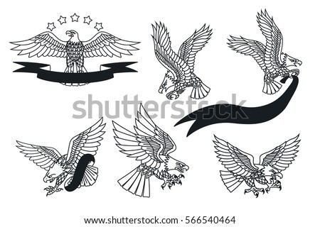 Eagle tattoo download free vector art stock graphics images vector american eagles set traditional tattoo designs maxwellsz