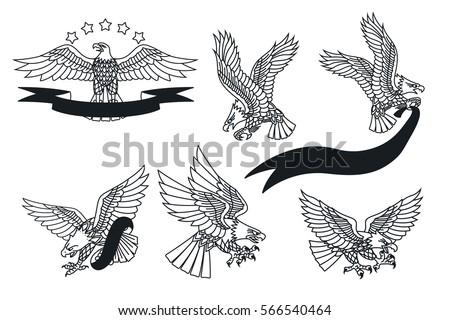 vector american eagles set