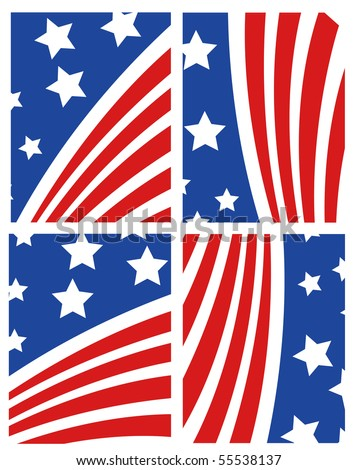 Vector American Flag Set