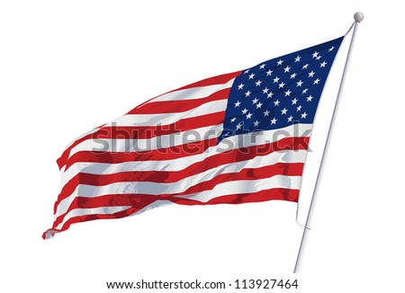 Vector American Flag waving isolated on white