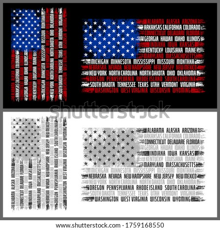 Vector American Flag, with Typography List of 50 States America, available on colors and black white/ grayscale. available in Vertical and Horizontal design. Photo stock ©