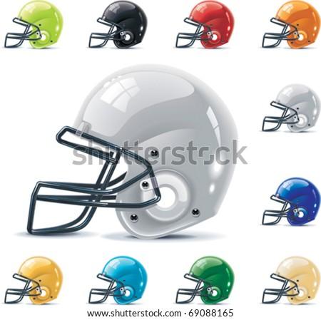 Vector American football / gridiron icon set. Part 2 â?? Helmets