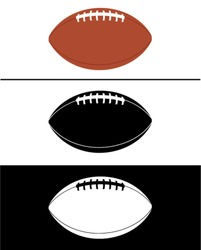 Vector American Football Set in Color, Black and Reverse
