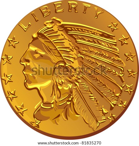 vector American money, dollar Gold Coin American early-twentieth-century image of Indians