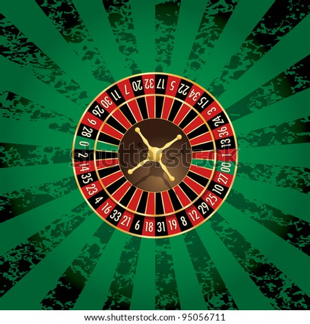 vector american roulette wheel on green grunge background - stock vector