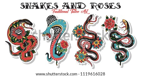 Vector American Traditional Tattoo Design Snakes and Roses #1119616028