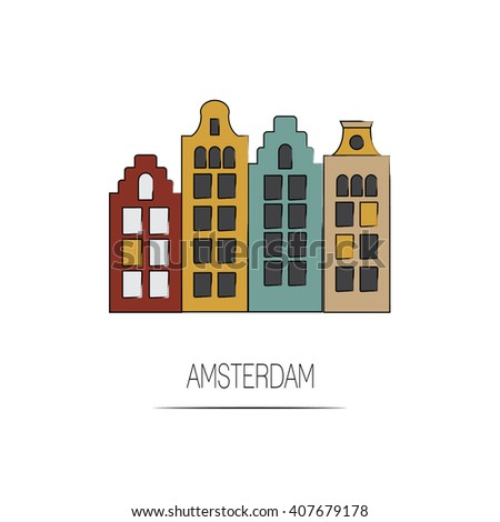 Vector amsterdam icon city line illustration traditional for Design agency amsterdam