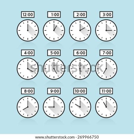 vector analog clock 24 hours