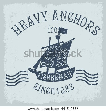 vector anchor sailboat sea
