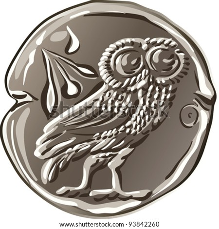 vector ancient Greek drachma money silver coin with the image of the owl and olive