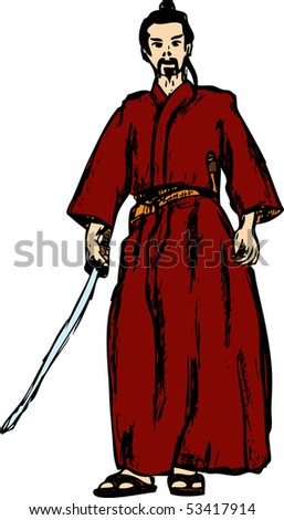 vector - ancient samurai isolated on background