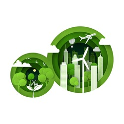 Vector and digital craft style of nature landscape, Green eco city concept. Eps 10 Vector.