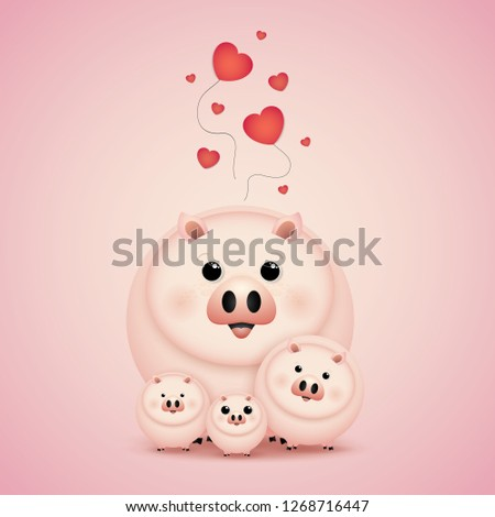 Vector and Illustration graphic  style, Cute cartoon, happy family  pig on a light background. #1268716447