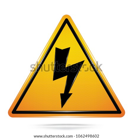 Vector and illustration of graphic style,Danger High Voltage symbol,Yellow triangle Warning Dangerous icon on white background,Attracting attention Security First sign,Idea for presentation,EPS10.