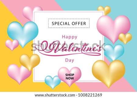 Vector and illustration pastel colorful balloon heart around sale banner, special offer on Valentine's day  #1008221269