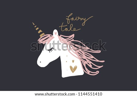 Vector and jpg image, clipart, editable isolated details. Unicorn head funny art, baby stylish Illustration, unique print for posters, cards, mugs, clothes and other.