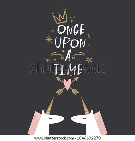 Vector and jpg image. Cute unicorns and lettering. Magic art. Decor elements for your stuff and graphic design. Good for gift card and kids products. Clipart. Isolated.