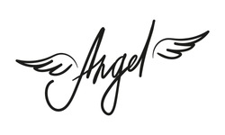 Vector Angel lettering isolated on white background. Beautiful hand drawn calligraphy illustration for typography and textile.