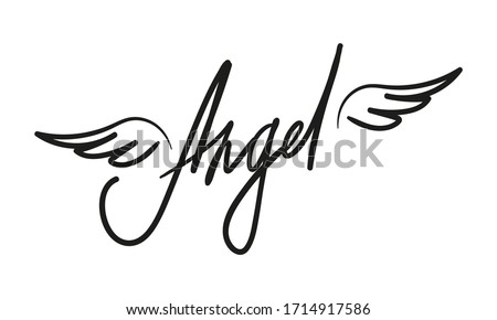 vector angel lettering isolated