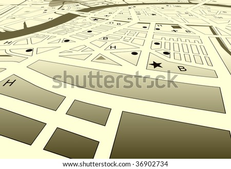 Vector angled streetmap of a generic city with no names