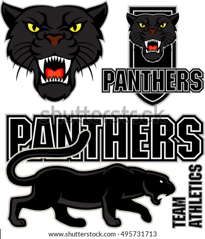 Stock Photo vector angry black panther face sport emblem