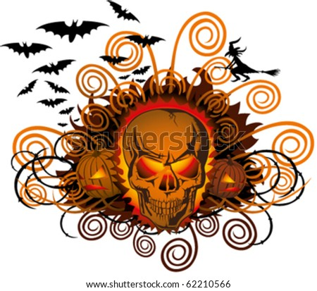 vector angry halloween skull with bats and witch