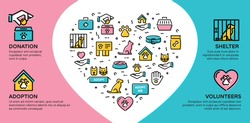 Vector animal help icon banner. Line pictogram web poster of pet donation, charity, adoption, shelter, volunteers. Flyer illustration background with heart and place for text.Dog and cat care sign set
