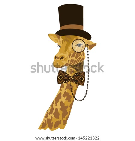 vector animal, portrait of giraffe in tall hat with printed bow tie and monocle, vintage look, dressed in retro style