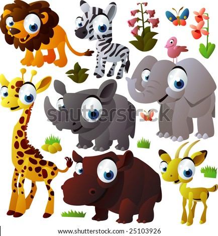 vector animal set: african animals - stock vector