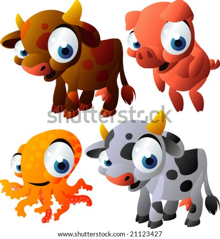 vector animal set 130: cow, pig, octopus, cow