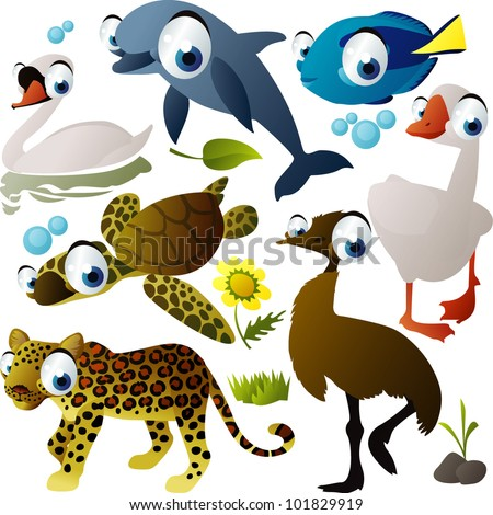 vector animal set: dolphin, swan, fish, ostrich, goose, turtle, jaguar