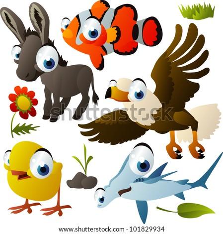vector animal set: donkey, clown fish, eagle, hammerhead, chicken