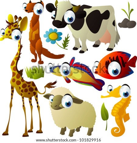 vector animal set: giraffe, cow, sheep, meerkat, fish, hippocampus