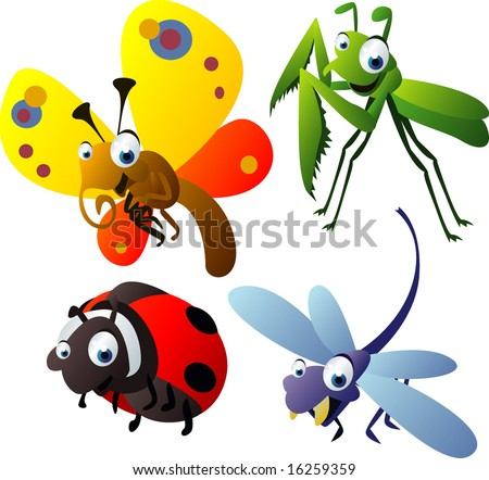 Vector Animal Set 53: Insects: Praying Mantis, Butterfly, Ladybug, Dragonfly