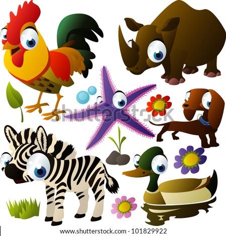 vector animal set rooster, rhino, dog, zebra, duck,starfish