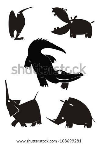 Vector animal silhouettes collection for design